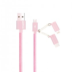 CABLE DATA CHARGEUR 3 EN 1 ROSE