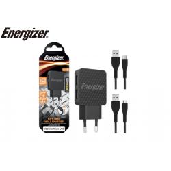 CHARGEUR ENERGIZER USB-C ET MICRO USB NOIR