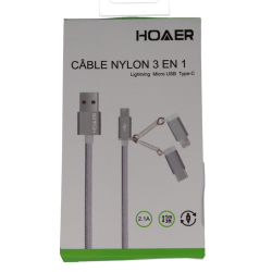 CABLE NYLON 3 EN 1 lightning Micro USB Type-C
