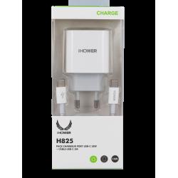 PACK CHARGEUR PORT USB-C 18W + CÂBLE USB-C 1M