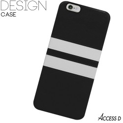SILICONE NOIR 2 BANDES BLANCHES POUR IPHONE 4/4S