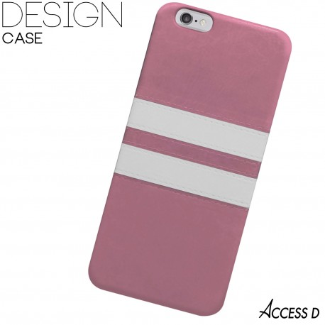 SILICONE ROSE 2 BANDES BLANCHES POUR IPHONE 4/4S