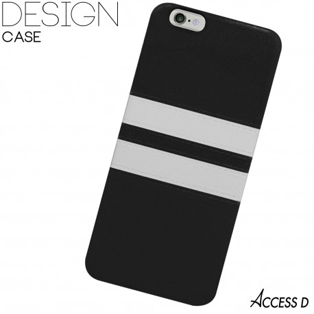 SILICONE NOIR 2 BANDES BLANCHES POUR IPHONE 5/5S