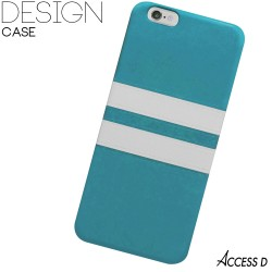 SILICONE BLEU 2 BANDES BLANCHES POUR IPHONE 5/5S