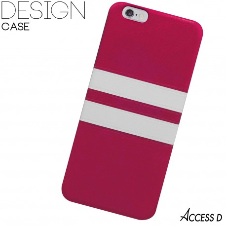 SILICONE FUSCHIA 2 BANDES BLANCHES POUR IPHONE 5/5S
