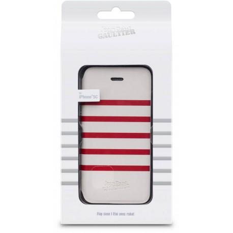 etui folio mariniere blanche et rouge jean paul gaultier pour iphone 5c