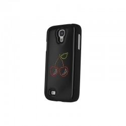 Coque en plastique ornée avec des véritables cristaux Swarovski Samsung Galaxy S4 Motif Cerise Noir