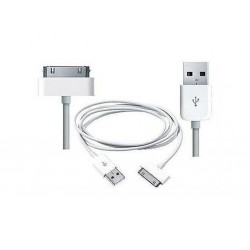 CABLE DATA COMPATIBLE IPHONE 4/4S BLANC