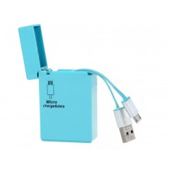 CABLE CHARGEUR MICRO USB RETRACTABLE BLEU