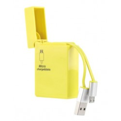 CABLE CHARGEUR MICRO USB RETRACTABLE JAUNE