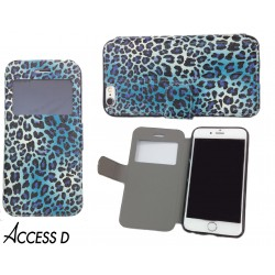 FOLIO IPHONE 6/6S MOTIF LEOPARD BLEU