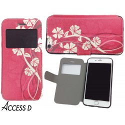 FOLIO IPHONE 6+ MOTIF FLEURS ROSE