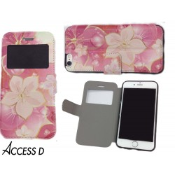 FOLIO IPHONE 6/6S MOTIF FLEURS ROSE