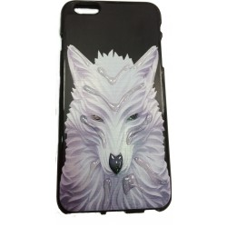 COQUE IPHONE 5/5S/SE MOTIF LOUP BLANC RELIEF