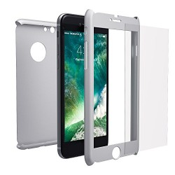 COQUE INTEGRALE ARGENT IPHONE 5/5S/SE AVEC VERRE TREMPE IP5 INCLUS