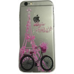 COQUE FANTAISIE SILICONE IPHONE 6 ET 6S MOTIF TOUR EIFFEL BICYCLETTE