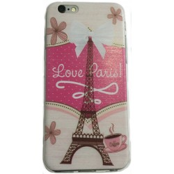 COQUE FANTAISIE SILICONE IPHONE 6 ET 6S MOTIF TOUR EIFFEL LOVE PARIS