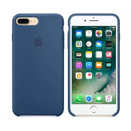 COQUE APPLE ORIGINALE IPHONE 7+ CUIR NATUREL BLEU