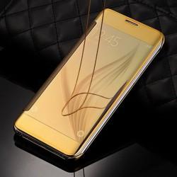 FLIP COVER POUR SAMSUNG S7 EDGE EFFET METAL GOLD