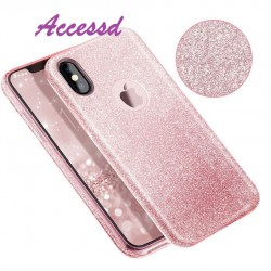 COQUE IPHONE X SILICONE PAILLETTES ROSE