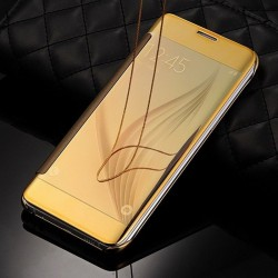 FLIP COVER SAMSUNG S10 + EFFET METAL GOLD